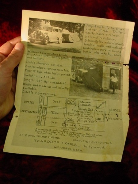 Vintage 1940s TEARDROP TRAILER SALES FLYER Mobile Home HOLLYWOOD BUSINESS Cooper