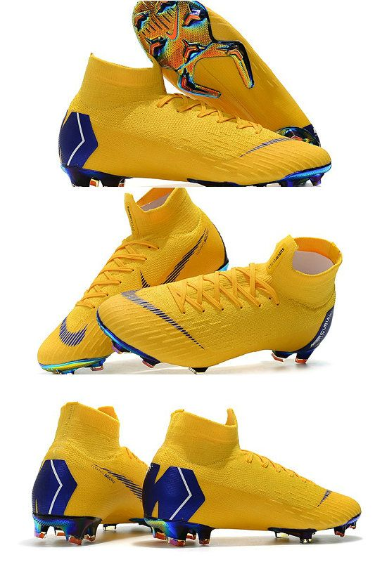 New Nike Mercurial Superfly 6 Elite Fg World Cup Yellow Blue Soccer Cleats Nike Nike Soccer Shoes Best Soccer Shoes