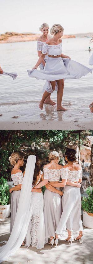 Two Piece A Line Ankle Length Off Shoulder Lace Bridesmaid Dress, Wedding Party Dress B340   #longbridesmaiddress, #2017 bridesmaiddress, #weddingpartydress, #bohobridesmaiddress, #maxidress, #ChiffonBridesmaiddress, #ElegantBridesmaiddress, #CheapBridesmaiddress, #weddingideas