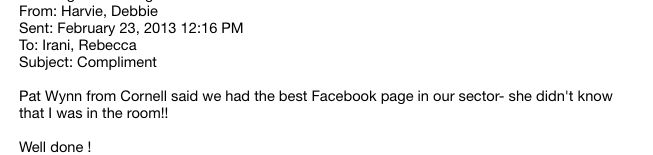 Note of recognition for best Facebook account in North America (out of 2,600 university stores)