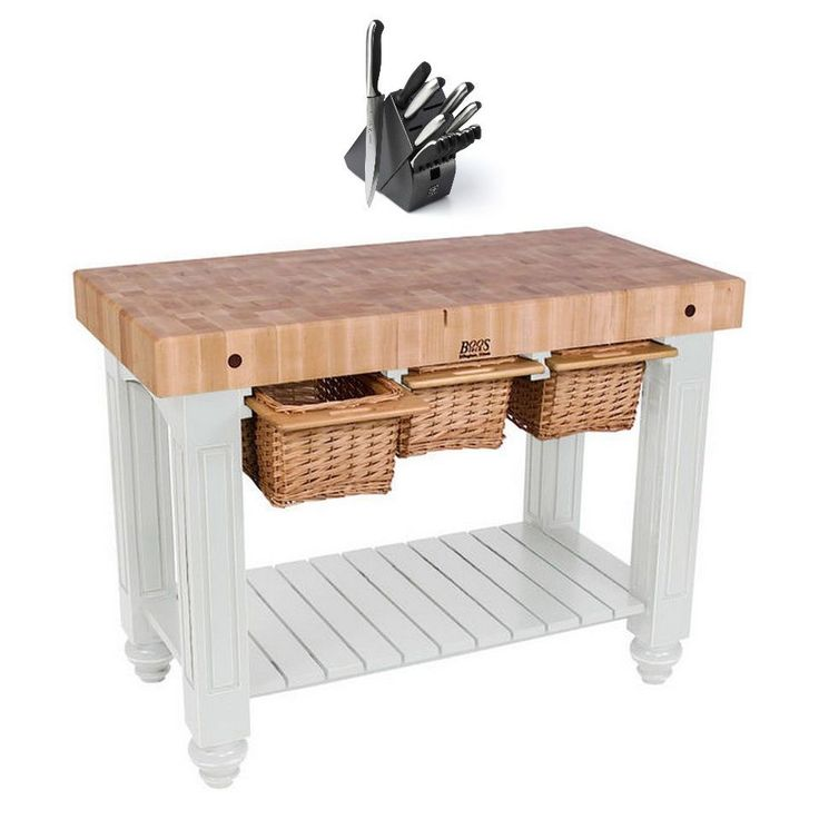 John Boos CU-GB4824-AL Alabaster 48 x 24 Gathering Block Table and Henckels 13-piece Knife Block Set