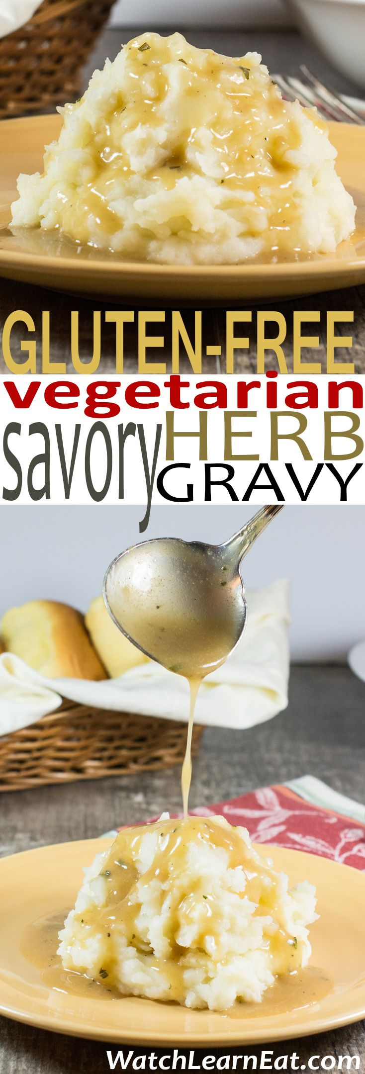 This Gluten-Free Vegetarian Savory Herb Gravy features the flavors of fresh rosemary, sage and thyme for a delicious accompaniment to your favorite meal.