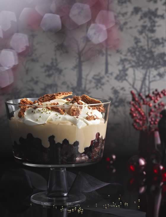 Chocolate brownie, cherry and honeycomb trifle - Sainsbury's Magazine