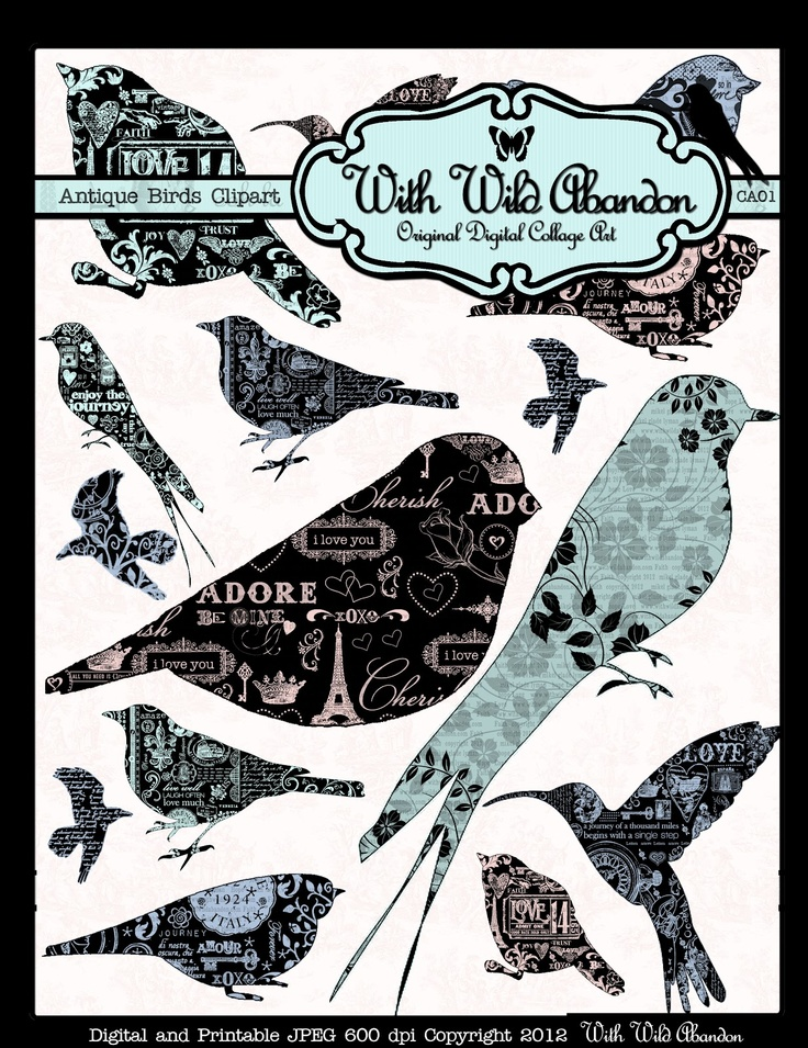 With Wild Abandon Vintage Printable Birds ... Clipart, Image Transfers or Digital Stamps