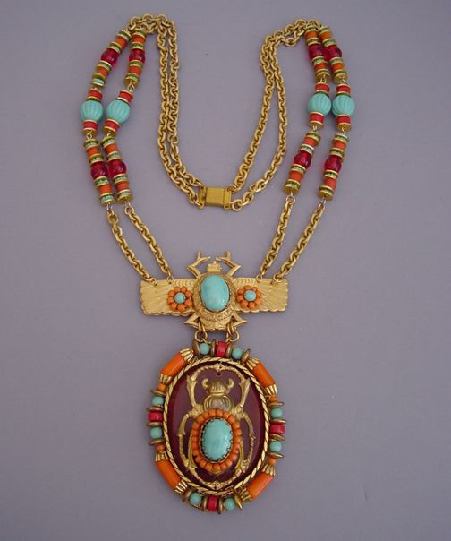"""Lawrence (Larry) Vrba Egyptian pendant necklace with a 25-1/2"""" chain with a 5"""" by 2-3/4"""" pendant. This is in the same style as the Egyptian line he did for Miriam Haskell only larger"""