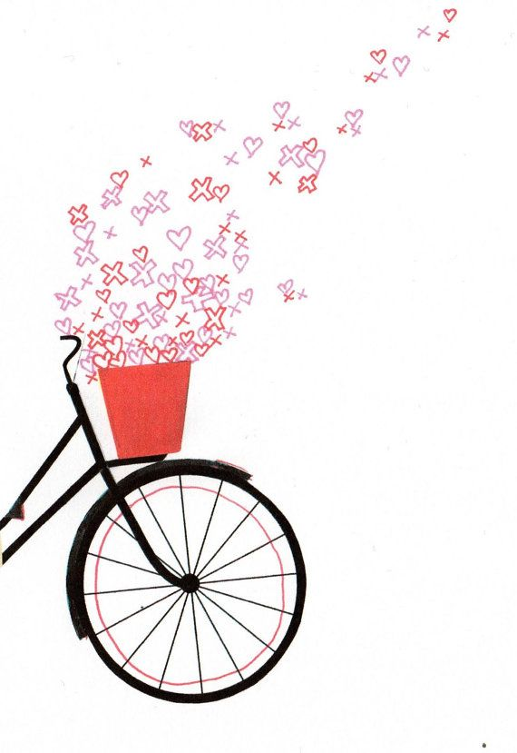 Bicycle spring love illustration a4 digital print.indie love heart art print.bike bicycle collage illustration.