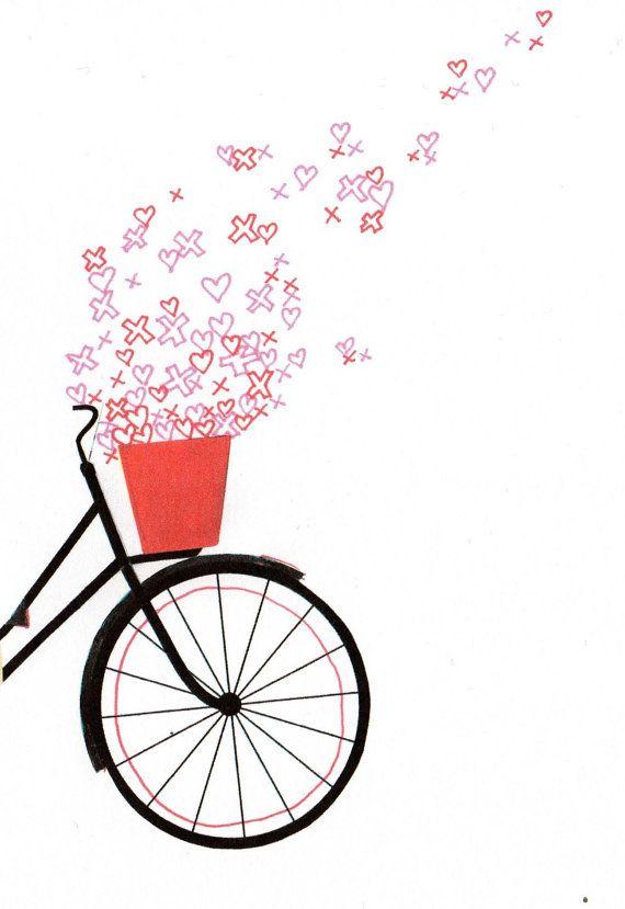 Bicycle spring love illustration a4 digital print.indie love heart art print.bike bicycle collage illustration.