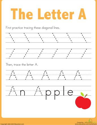 """Worksheets: Practice Tracing the Letter A...I use these so my 3-year old can do """"homework"""" while my older two do theirs. She looks forward to them everyday!"""