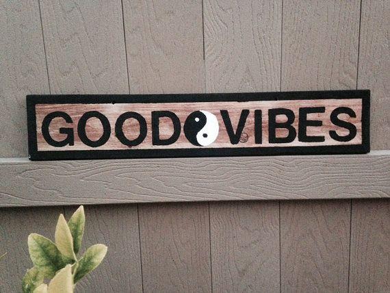 NEW Brandy Melville style Sign Teens Girls Wood Trendy Wall art Hanging Good Vibes Yin Yang