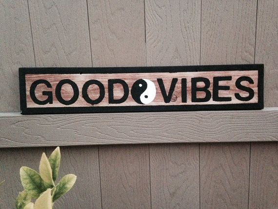 NEW Brandy Melville style Sign Teens Girls Wood Trendy Wall art Hanging Good Vibes Yin Yang