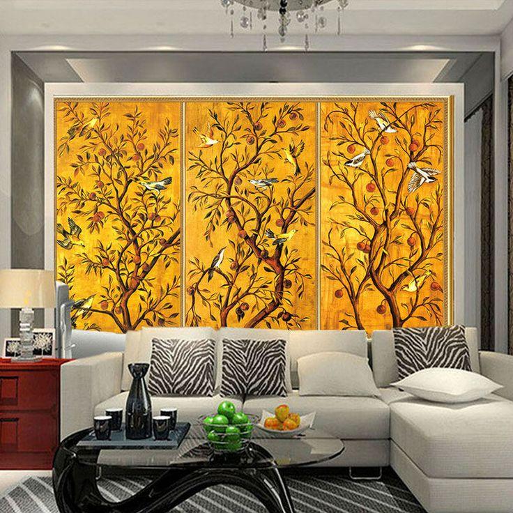 pas cher vintage papier peint personnalis 3d peintures murales oiseau et fleur peinture photo. Black Bedroom Furniture Sets. Home Design Ideas