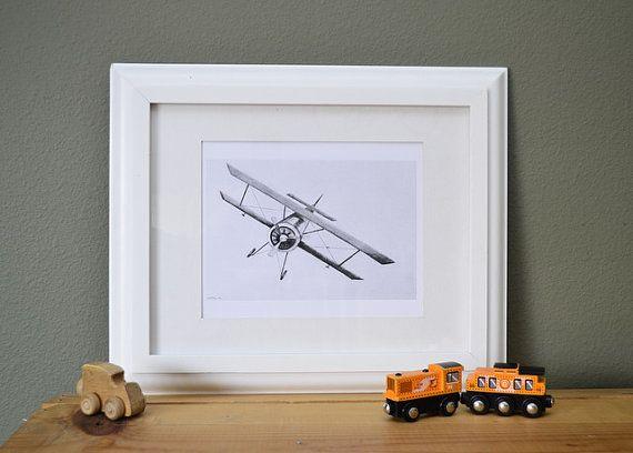 biplane art print airplane wall art plane by