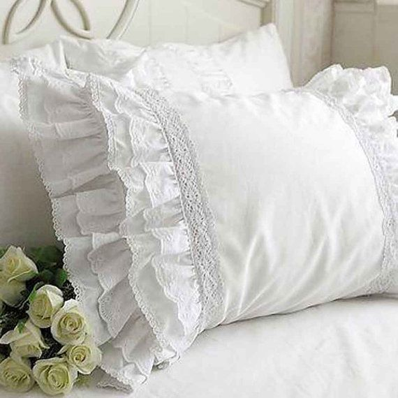 Ruffle Lace Pillow Shams(a pair)-Victorian Shabby Cottage French Parisian Wedding gift