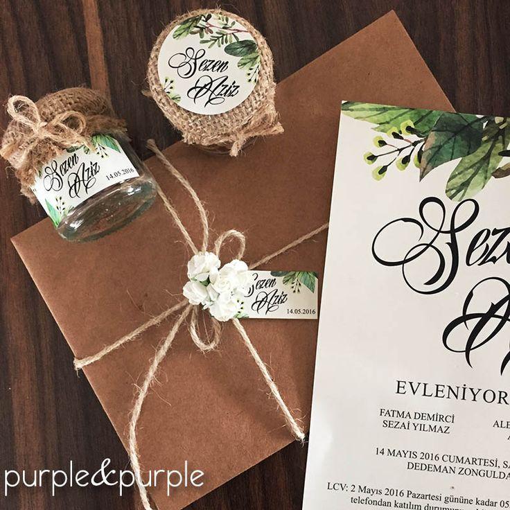 yaprak desenli düğün davetiyesi | bahar düğünü davetiyesi | kişiye özel düğün davetiye tasarımı | nikah şekeri | nişan şekeri | çuval kapaklı kavanoz nikah şekeri | kahve çekirdeği nikah şekeri | wedding invitation | rustic wedding | spring wedding | wedding favor