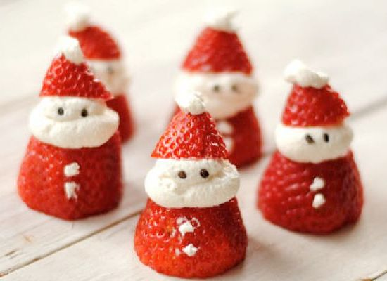 Christmas Breakfast Ideas - how cute are these little Santa strawberries for the kids!