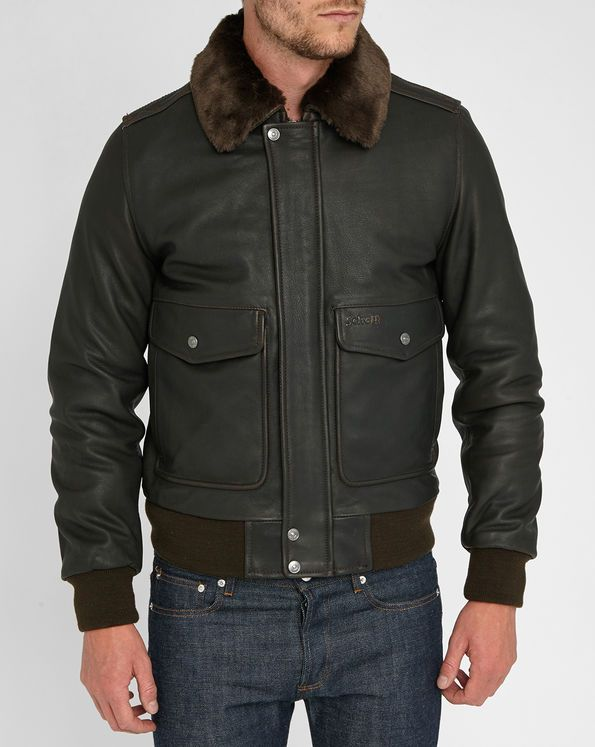 Brown Removable Fur Collar Leather Flight Jacket SCHOTT NYC