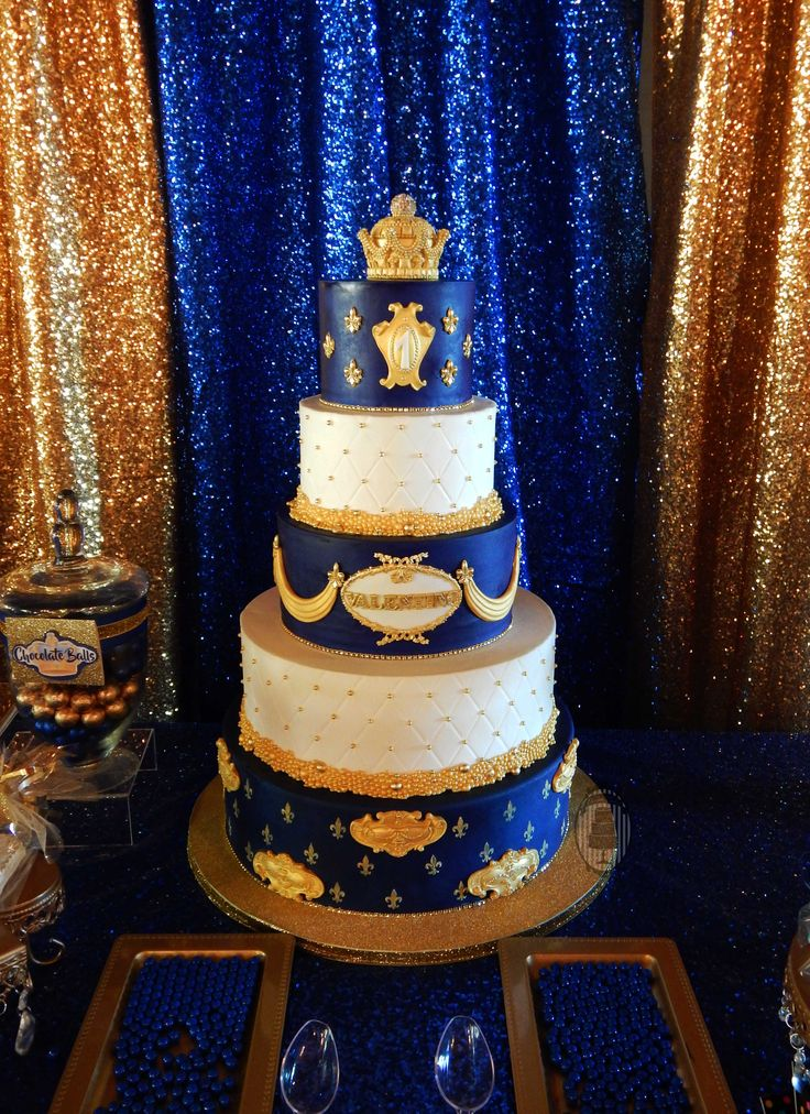 Prince First Birthday Royal Birthday Party Cake Blue