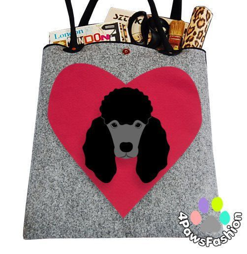 Dog lover gift black Poodle felt handbag Felt animal dog pattern gift for her Handmade doodle art laptop bag from gray felt / 4PawsFashion by 4PawsFashion on Etsy