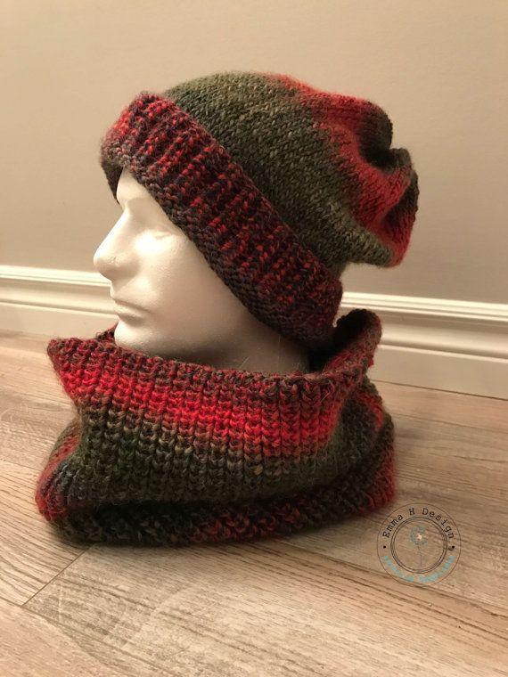 Ensemble bonnet et snood pour homme couleurs par EmmaHDesign