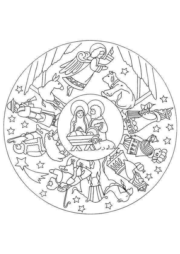 Un Mandala chrétien célébrant la nativité à colorier                                                                                                                                                      Plus