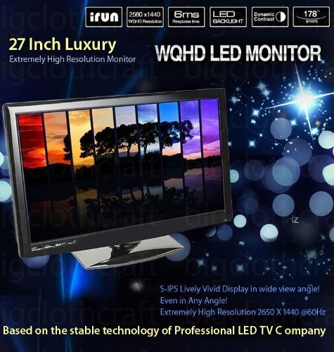 Tempered Glass- 27″ Inch irun ZT-SH270QHD 2560×1440 WQHD Quad HD Monitor S-IPS with Built in Speaker - DVI output is 2560×1440 resolution, DVI-dual link port required from the Graphic card and DVI-D cable - Only for PC monitor (one DVI-D port) / PC graphic card should surport QHD(2560×1440)  By-Pass model (No Ad board in monitor – Monitor use graphic card resource) / PC graphic board should surport DVI-D(Dual link DVI)