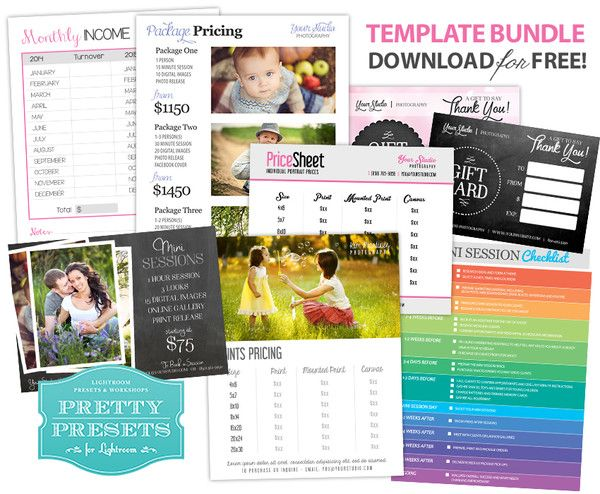 8 Essential Freebies for Your Photography Business Gift cards - Price Sheet Template