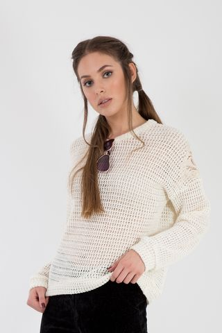 Knit sweater with lace details