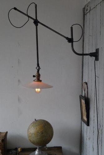 Rare Lampe applique O.C. White Industrielle opaline blanche at http://www.ducotedu-design.com/