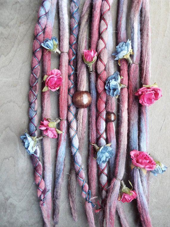 Set of 10 total Hair Extensions Set Includes: 7 Unwrapped wool Tie-dyed dreadlocks 3 x-cross wrapped tie-dye dreadlocks 2 Wood Bead 12…