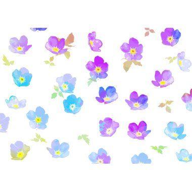 お花柄のかわいい水彩画 背景無料イラスト/花
