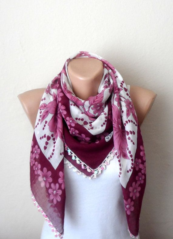 white scarf flower pink claret red beads cotton by DamlaScarf