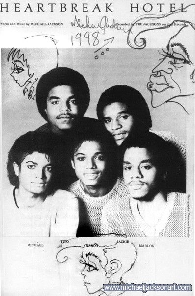 Doodle by Michael Jackson on photo of the Jacksons