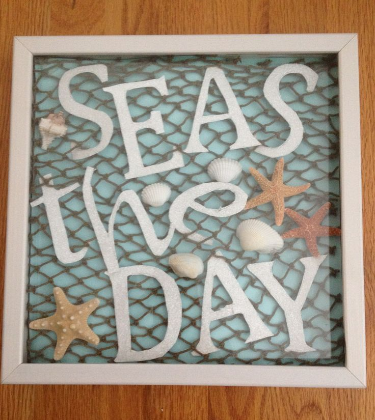 """Seas the Day"" shadow box craft for our new Bald Head Island house!! Turned out great! #beachhouse #starfish #beachhousecraft"