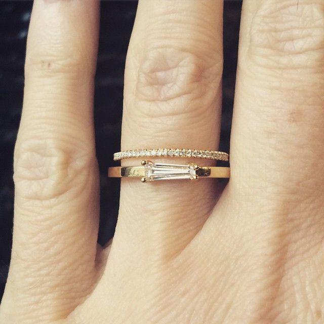 Simple modern designer diamond engagement ring