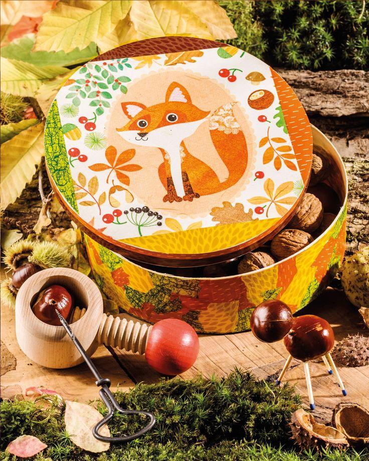 """Herbstliche Holzbox mit Decoupage-Technik (Idee mit Anleitung – Klick auf """"Besuchen""""!) - Der Herbst bietet viele Schätze aus der Natur, wie beispielsweise Kastanien oder Nüsse. Hier ist die ideale Bastelidee zur Aufbewahrung: Eine hübsche Schatzdose als Herbstdeko. Die Kinder basteln bestimmt mit Begeisterung mit."""