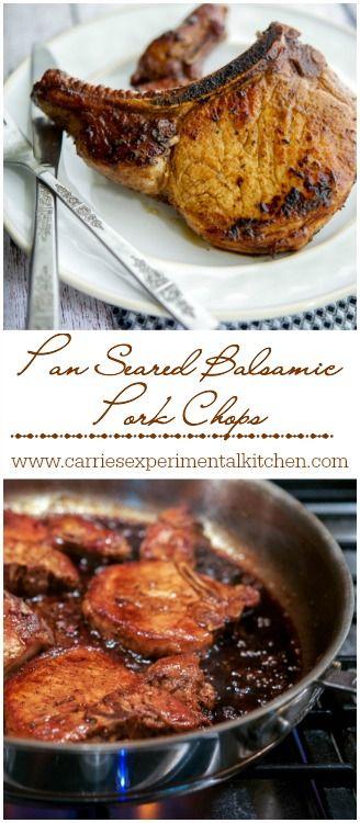 Pan Seared Balsamic Pork Chops Collage | CarriesExperimentalKitchen.com #pork #glutenfree