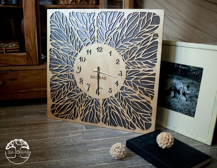 """Wooden wall clock """" Leaves"""" by BAOBAB"""