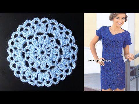 Платье из круглых мотивов крючком. МК.(1 часть из 2) - YouTube