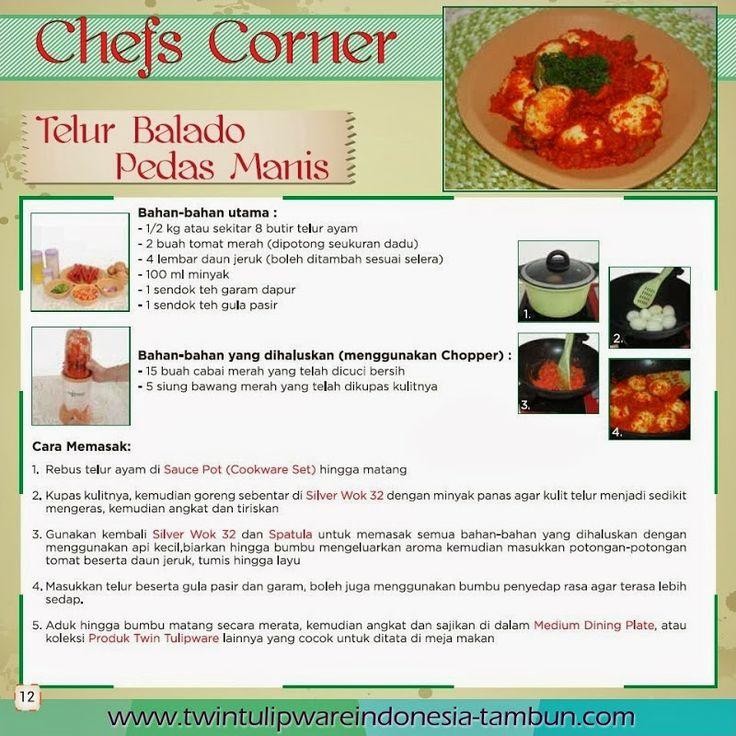 Telur Balado Pedas Manis - Edisi #Resep Masakan Twin #Tulipware, Cookware Set, Silver Wok 32, Chopper Blender