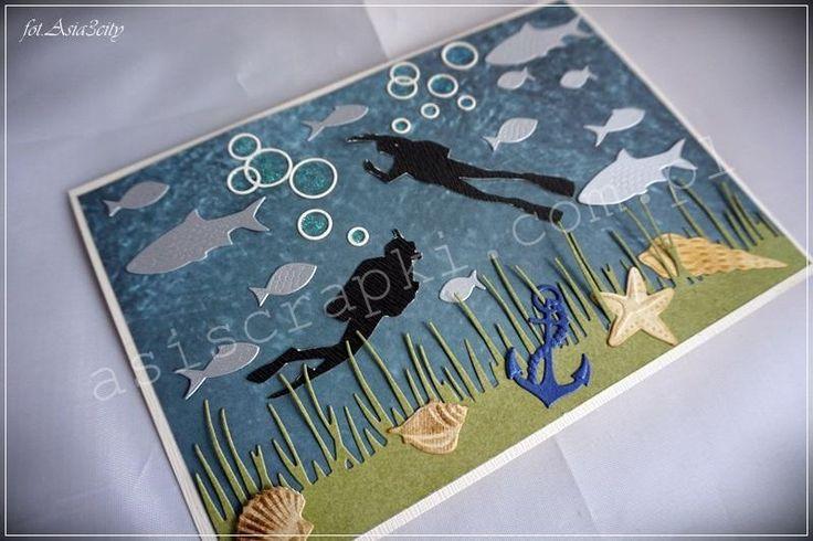 Kartka dla nurka z podwodnym światem. Kartka dla nurka Podobne