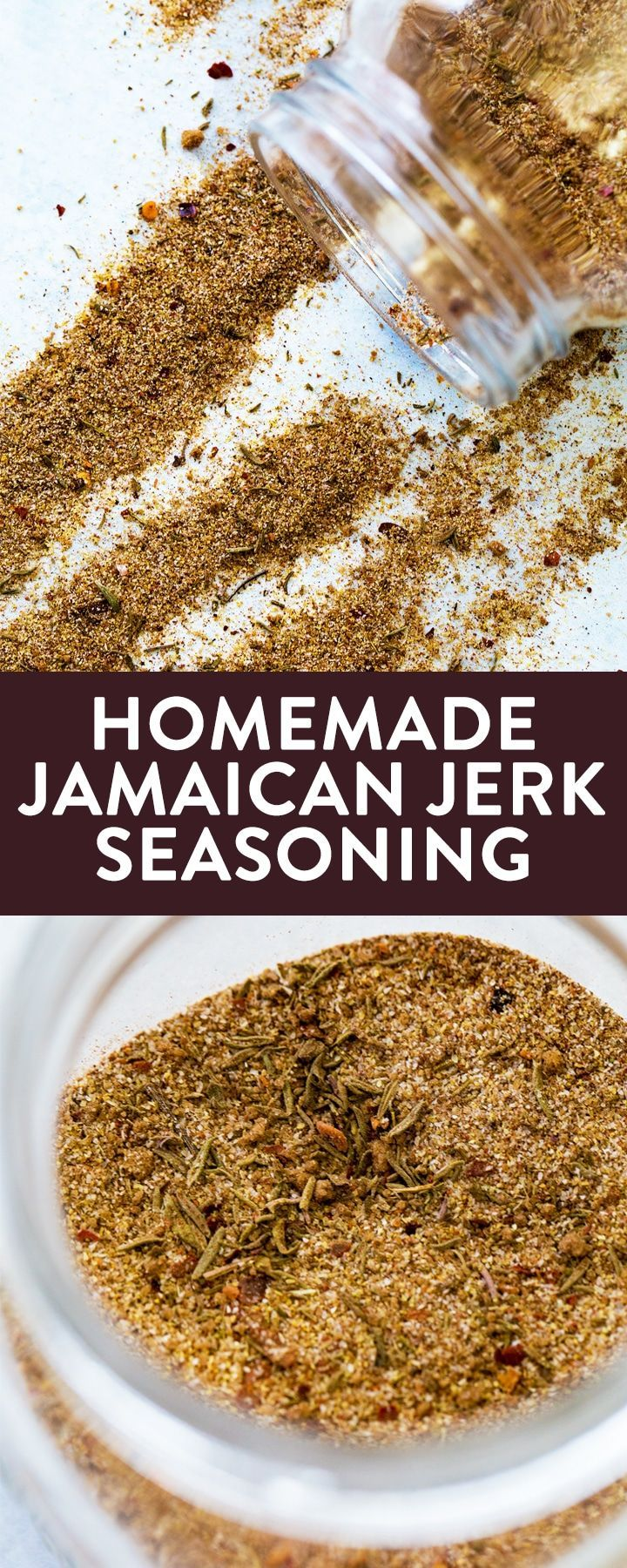 This homemade Jamaican jerk seasoning is a low calorie way to spice up your chicken or pork dish. It's sweet, tropical, and a little spicy. Perfect on BBQ chicken or as a rib rub. Make this for your barbecue recipes this summer! #thebewitchinkitchen #jamaicanjerk #jerkseasoning #homemadejerkseasoning #homemadejamaicanjerkseasoning #chickenrecipes #ribrecipes #ribrub #tropicalrecipes