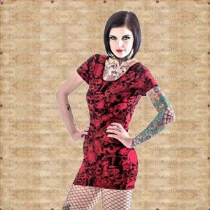 Evil looking dress with black and red skull print. This red skull dress is simply a must have. The Red Skull Dress by Queen of Darkness in the Skulls and Dragons clothing range.    Made from 90 percent polyester, 10 percent elastane    Ref : SDDR119313