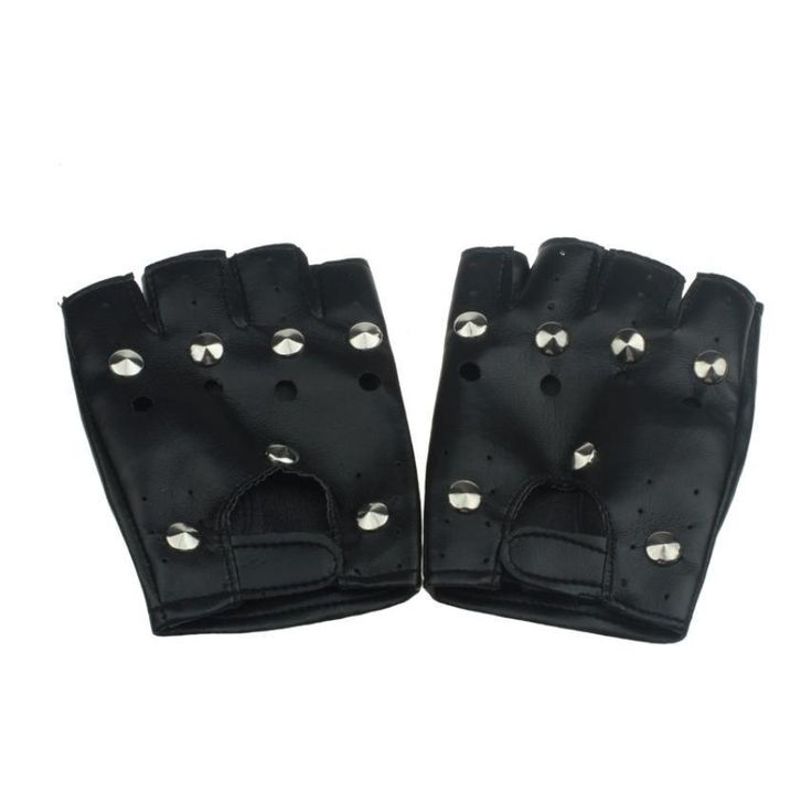 JECKSION 2016 Theatrical Punk Hip-hop Gloves men With PU Half-finger Leather Male Gloves Round Nail Guantes para hombres #LSW