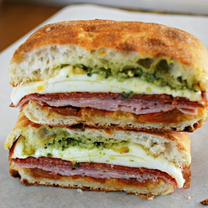 Toasted Italian Sandwich – Food Fun Friday Recipe Lunch with Ciabatta rolls, pesto sauce, sun-dried tomatoes, mozzarella cheese, Oscar Mayer Deli Fresh Smoked Ham, salami, peppered salami, pepperoni, pepperoni turkei