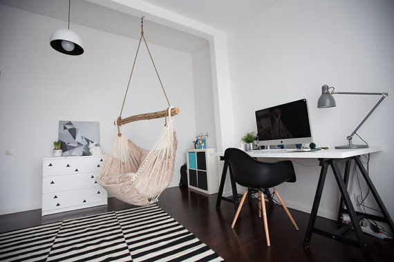 Hammock chair is made in Latvia from natural materials. Designed in Eco style.The crossbar comes from wild beaches of Baltic Sea and is