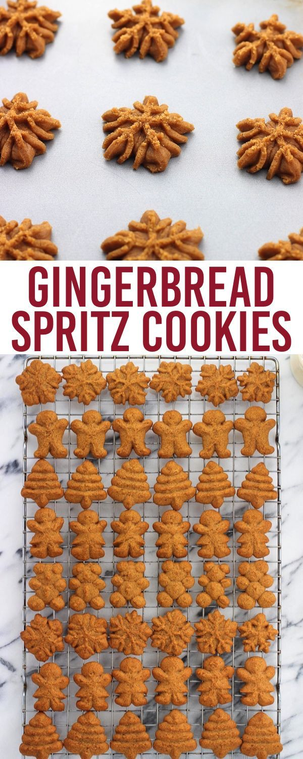 Gingerbread spritz cookies are buttery and spiced with classic gingerbread flavors in this easily shaped version of gingerbread cookies. This spritz cookie recipe (made using a cookie press) makes more than enough for a crowd.