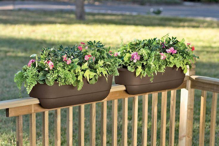 deck railing planters - genius!