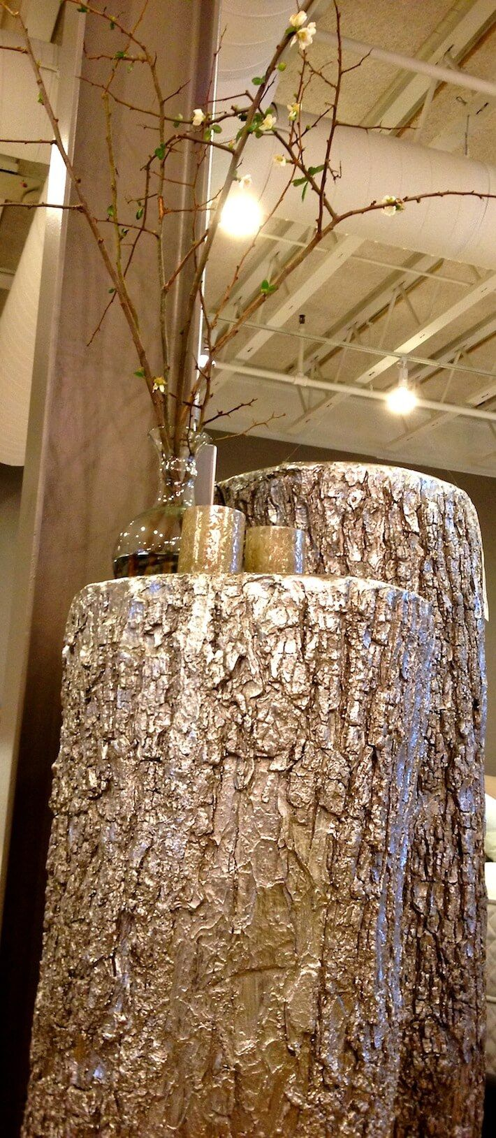 Gold painted tree trunks---omg yes