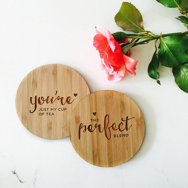 Filled with sentiment, theseengraved woodencoasters addstyle and substance to your favourite cup ofcoffee or glass of wine at home. This favour is perfect f