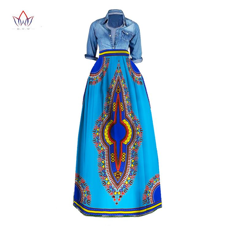 BRW 2017 African Bazin Riche Print Long Skirts Plus Size Dashiki African Traditional Clothes for Women Ball Grown Skirt WY106